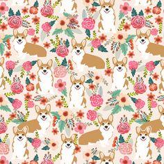 corgi florals pet dog welsh corgi pembroke corgi flowers girls pastel vintage florals spring dog fabric print fabric by petfriendly on Spoonflower - custom fabric