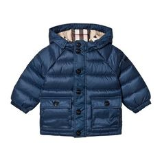 Burberry Ink Blue Mini Lachlan Down Puffer Jacket (290 CAD) ❤ liked on Polyvore featuring outerwear, jackets, puffer jacket, mini jacket, blue puffer jacket, puffy jacket and burberry jacket