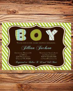 Baby Shower Invitation, BOY, Baby Boy Shower Invitation, Ornate Frame Baby Shower, Stripes, BOY, Brown, Green (Item 5101)