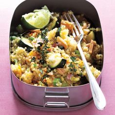 Quinoa Salad with Almonds serves 4 as a side dish -- or use 1 cup of raw almonds to serve 4 as a one-dish dinner.