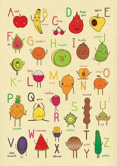 Abécédaire anglais avec les noms des fruits. / english ABC Fruit Alphabet by piktorama FFAF inspiration