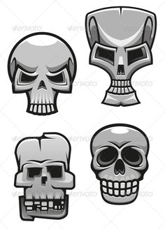 Set of Monster Skull Mascots — JPG Image #tattoo #devil • Available here → https://graphicriver.net/item/set-of-monster-skull-mascots/4828844?ref=pxcr