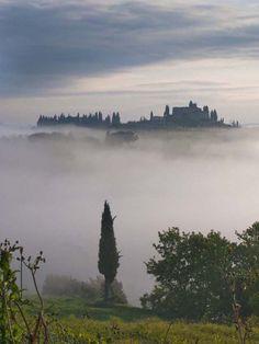 Misty Dawn, Tuscany, C Italy, province of Siena Misty Dawn, Renaissance Architecture, Cedar Trees, Southern Europe, Tuscany Italy, Siena, Alps, Italy Travel, Art Paintings