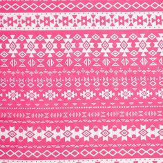 Fuchsia/White Tribal/Ethnic Printed Rayon Challis Fabric by the Yard   Mood Fabrics