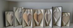 Unique Wedding Decoration - A Grouping of Hearts - Bridal Shower - Folding Book Art - Sculpture Hom Folded Book Art, Book Folding, Paper Art, Paper Crafts, Book Page Crafts, Craft Packaging, Altered Book Art, Recycled Books, Cardboard Art