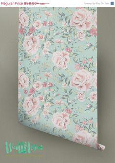 ON SALE Rose Pattern Wallpaper Rose Wallpaper by WallfloraShop