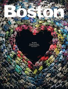 Incredible Cover of Boston Magazine Made of Shoes Worn in the Marathon.