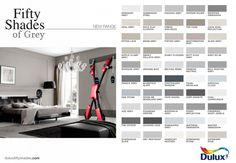 shades of grey color chart shades grey colour chart fifty shades of grey color chart Shades Of Grey Paint, Grey Paint Colors, Fifty Shades Of Grey, Wall Colours, Neutral Paint, Grey Colour Chart, Dulux Colour Chart, Colour Schemes, Colour Palettes