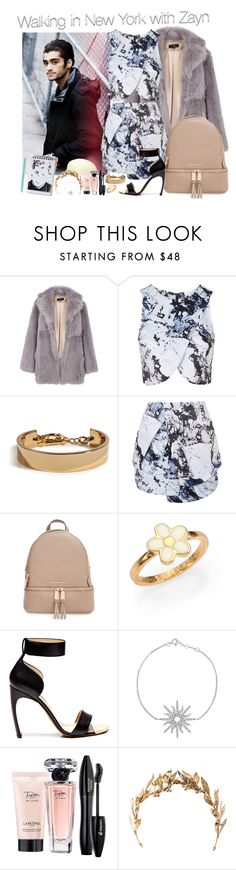 """Day in New York with Zayn#G"" by ghizlanewilde ❤ liked on Polyvore featuring TIBI, Topshop, Eddie Borgo, MICHAEL Michael Kors, Marc by Marc Jacobs, Nicholas Kirkwood, Christina Debs, Lancôme and Tiffany & Co."