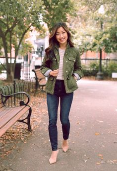 fall style // quilted downtown field jacket (petite) in army green