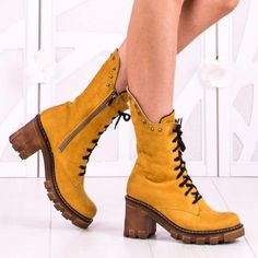 Ghete Dama Marlene 2 Galbene Dr. Martens, Combat Boots, Shoes, Fashion, Moda, Zapatos, Shoes Outlet, Fashion Styles, Combat Boot