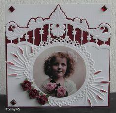 Voorbeeldkaart - meisje met rozen - Categorie: Scrapkaarten - Hobbyjournaal uw hobby website