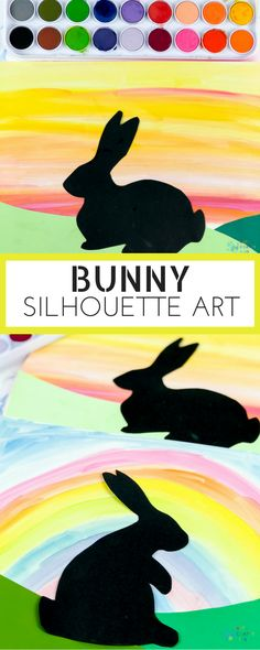 Arty Crafty Kids | Easter Art for Kids | Bunny Silhouette Art for kids, with a free template included. A great Spring or Easter craft for kids #craftsforkids #kidscrafts #eastercraftsforkids