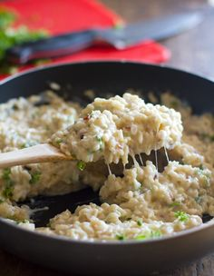 6-8 cups chopped cauliflower 4 cups vegetable broth + 2 cups water ½ cup milk 1½ cups brown rice 1 teaspoon salt 2 tablespoons butter 6-8 cloves minced garlic Bring the vegetable broth and water to a boil in a large pot. Add the cauliflower and boil for about 10 minutes, until tender. Transfer cauliflower pieces to a blender or food processor. Puree the cauliflower, adding milk or extra vegetable broth to get a smooth, creamy consistency. Season with salt. Pour over the cooked rice