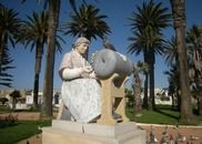 Lace-making, Peniche, Portugal. This fantastic statue is made of different colored marbles.
