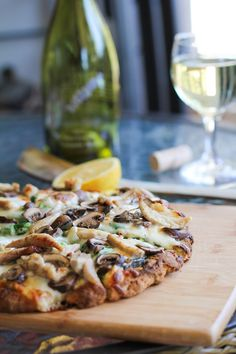 Roasted Chicken & Mushroom Pesto Pizza | http://www.theroastedroot.net #glutenfree