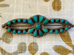 Early Zuni Snake-Eye Turquoise Bar Pin – Yourgreatfinds