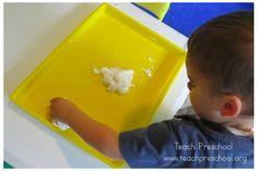 Simple play with shaving cream on a tray makes simple sensory play - Teach Preschool Teach Preschool, Special Needs Kids, Aspergers, Play Therapy, Shaving Cream, Sensory Play, Make It Simple, Invitations, Teaching