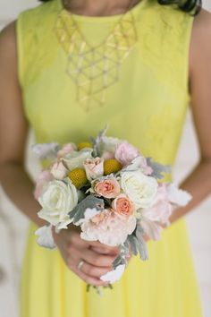 yellow bridesmaid dresses paired with geometric necklaces Photography: Sunny 16 Photography - sunny16photos.com  Read More: http://www.stylemepretty.com/2014/06/26/geometric-themed-wedding-full-of-diy/