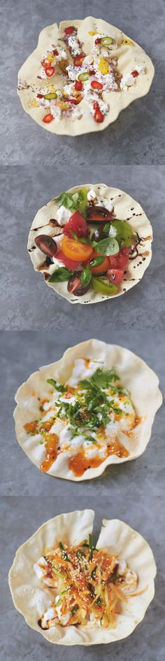Healthy poppadom snacks. 100 calories snack. four tasty topping combos.  Gram or chickpea-flour poppadoms are gluten-free and high in protein so when teamed with protein-rich cottage too, this snack is sure to keep hunger pangs at bay!