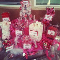 Red & Pink Birthday Candy Buffet