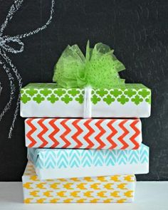 Homemade wrapping paper created with Martha Stewart Crafts.