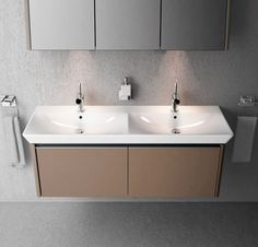 The stunning new VitrA T4.  As advertised in Grand Designs magazine this month.  130cm Vanity Unit & Double Basin . Buy Bathroom Basin & Units from UK Bathrooms  www.ukbathrooms.  #T4 #VitrA #bathrooms #contemporary #minimal