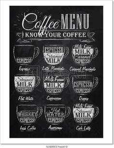 Wall Art- Kitchen Chalkboard Print -Chalkboard Coffee Subway Art Typo- Coffee Menu- Coffee Recipes-Know your Coffee Print 8 x 10 Coffee Milk, Espresso Coffee, My Coffee, Coffee Drinks, Coffee Cups, Coffee Maker, Black Coffee, Coffee Creamer, Coffee Barista