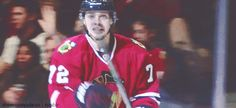 "February 15, 2016: Artemi ""actual ray of sunshine"" Panarin after scoring his goal"