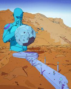 "DIMENSION // by me inspired by one of my idols Jean Giraud ""Moebius"" Jean Giraud, Arte Sci Fi, Sci Fi Art, Cyberpunk, Moebius Art, Graphic Novel Art, Architecture Art Design, Ligne Claire, Science Fiction Art"