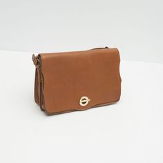 b950ad68512f Image 4 of LEATHER MESSENGER BAG WITH GOLDEN CLASP from Zara