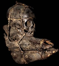 IFUGAO TRIBE: HEADHUNTING HUMAN TROPHY SKULL  HUMAN BONE, FEATHERS, BOAR'S SKULL, RATTAN  THE IFUGAO TRIBE, FROM THE PHILIPPINES,  MOUNT THE SKULLS OF THEIR HEADHUNTED  HUMAN VICTIMS ON SKULLS OF SACRIFICED BOARS.