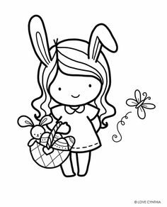 Whimsy Stamps, Love Stamps, Ink Stamps, Girly Drawings, Kawaii Drawings, Colorful Drawings, Easter Colouring, Coloring Books, Coloring Pages