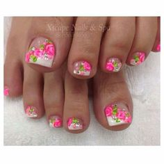 Pink Nail Designs- it would've been prettier if the design was only on the big toe but it's still very pretty. Cute Pedicure Designs, Pink Nail Designs, Nail Polish Designs, Beautiful Nail Designs, Toe Designs, Pretty Pedicures, Pretty Toe Nails, Cute Toe Nails, Pretty Toes