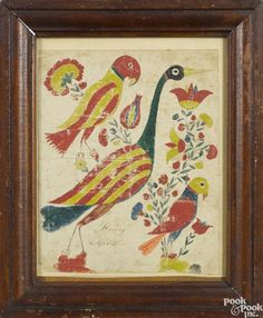 Pennsylvania watercolor and ink drawing of birds, dated 1839, inscribed Henry Apble - Price Estimate: $800 - $1200