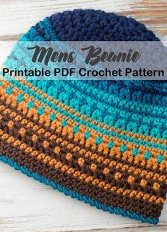 Make a warm mens crochet hat pattern. - winter hat - beanie crochet pattern - amorecraftylife.com #hat #crochet #crochetpattern