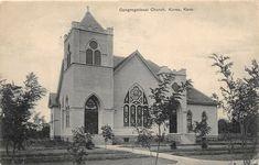 E37/ Kiowa Kansas Ks Postcard 1908 Congregational Church Building Church Building, School Building, Mcpherson Kansas, Kansas Ks, Old Churches, Vintage Postcards, Ohio, Travel, Vintage Travel Postcards