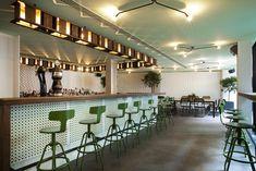 Green Bar - Tile Backsplash - Hospitality Design - Commercial Interior - Restaurant Ideas