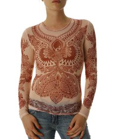 #breastfree awesomeness!!! | Rust Mesh Maroon Henna Firebird Long-Sleeve Top