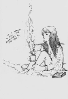 In college maybe, but I think the picture represent's the girls exhaustion from trying to keep a happy face in public. She just can smile when she's alone. Depression.