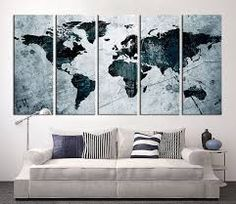New 3 pcsset abstract navy blue world map canvas painting modern world map above sofa gumiabroncs Choice Image