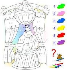Educational page with exercises for children on addition and subtraction. Need to solve examples and to paint the image in relevant colors. Developing skills for counting. Book Activities, Preschool Activities, Math Anchor Charts, Kids Math Worksheets, Math For Kids, Learning Through Play, Exercise For Kids, Coloring Pages, Cartoon
