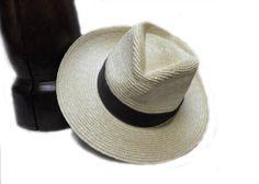 Natural Straw Rice Weave Wide Brim Fedora Hat