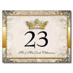 Ornate Fairytale Wedding Table Number Cards Post Card