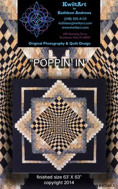 Poppin' In Quilt Pattern KWA-4004 (advanced beginner, wall hanging, lap and throw)