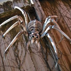 Giant Spider Skeleton Halloween Decoration This is no itsy bitsy spider! A creepy crawly addition to your Halloween party decorations, this awesome arachnid will spin a web of fear around everyone who … Creepy Halloween Party, Halloween Skeleton Decorations, Halloween Facts, Halloween Spider, Halloween Skeletons, Outdoor Halloween, Vintage Halloween, 1960s Halloween, Terrifying Halloween