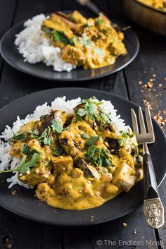 This Chickpea, Tofu, and Eggplant Curry is an easy to make and delicious weeknight dinner recipe. It's naturally vegan + gluten-free and made super creamy with coconut milk.   theendlessmeal.com