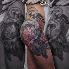 Swan & Flowers Hip Tattoo http://tattooideas247.com/swan-flowers/