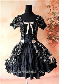 Black Cotton Printed Flowers Lolita One Piece Dress $76