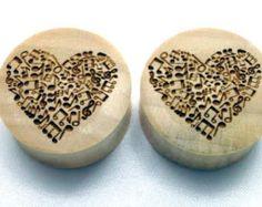 "Custom Handmade Organic ""I Heart Music"" Wood Plugs  -- You choose wood type/color and size 00g - 30mm"